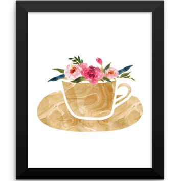 Floral Coffee Cup Print