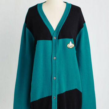 Quirky Long Long Sleeve Set Phasers to Stunning Cardigan in Teal