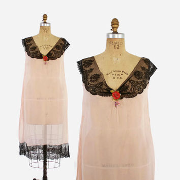 20s Palest PINK SILK NIGHTGOWN / 1920s Black Lace & Millinery Flower Slip Dress