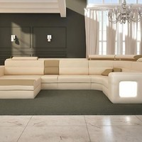 Large Sleek Leather Sectional - Opulentitems.com