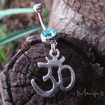Ohm Om Belly Button Ring Jewelry- Crystal Belly Ring- Silver Om Charm Dangle Navel Piercing Bar Barbell- B031