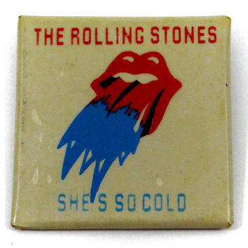 Vintage 80s The Rolling Stones She's So Cold Badge Pinback Button Pin