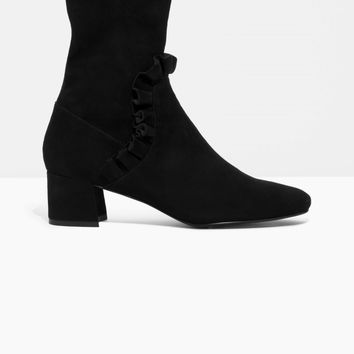 & Other Stories | Frill Suede Boots | Black