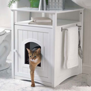 side table kitty litter box or kitty bed from solutions. Black Bedroom Furniture Sets. Home Design Ideas