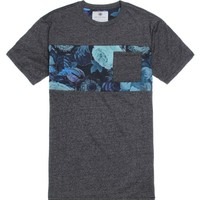 On The Byas Leo Print Mixing Crew T-Shirt - Mens Tee - Gray