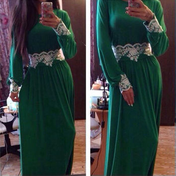 Green Long Sleeve Floral Lace Patch Maxi Dress