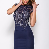 Ease My Mind Dress Navy