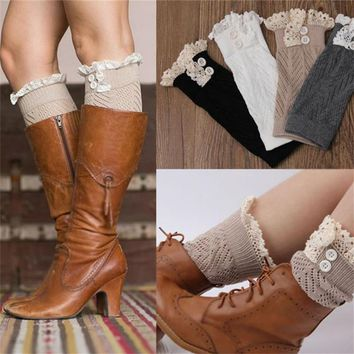 New 2016 women knit boot cuffs acrylic cable pattern lace boot socks buttons leg warmers bontique accessory knitted gaiters