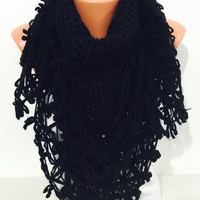 Handwoven handknitted and Crochet dark black scarf..Oversized infinity scarf, chunky crochet scarf,knitted shawl, crochet shawl