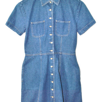 button up DENIM dress 90s vintage jean dress MINIMAL denim button down mini dress small