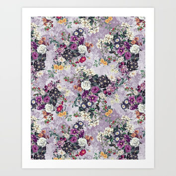 Botanical Flowers Purple Art Print by RIZA PEKER