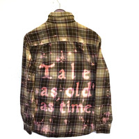 """Beauty and the Beast Plaid Flannel Shirt (Disney's """"Tale as old as time..."""")"""
