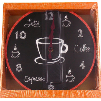"Coffee Clock Latte Espresso Wall Kitchen Decor G Fun & Sassy 10"" Round Battery"