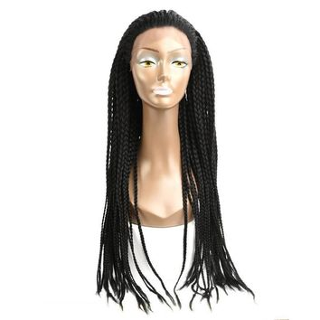 24'' Braids Lace Frontal Wig 350g Synthetic Adjustable Size African American Afro Braiding hair for Black Women