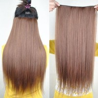 """8 Color 23"""" Straight Full Head Clip in Hair Extensions Wwii101 (Golden Brown)"""