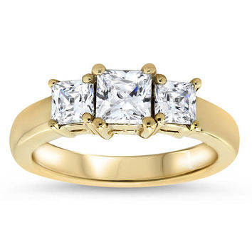 Three Stone Princess Cut Moissanite Engagement Ring - Gina