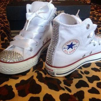 ONETOW children s youth high top rhinestone converse with ribbon shoelaces