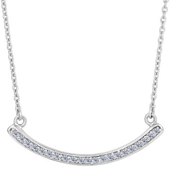 Sterling Silver Curve Bar Pendant With Cz Fashion Necklace - 18 Inch