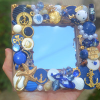 Handmade, nautical jewelry mosaic mirror, anchors, decorative mirror