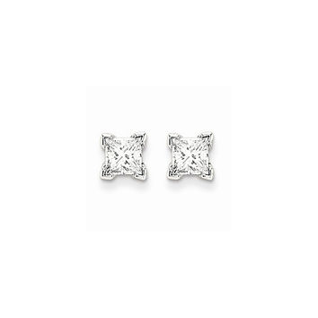 14k White Gold Princess Cut Diamond Stud Earrings