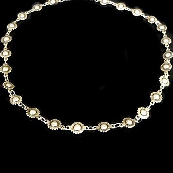 Edgy Antique SILVER Metal Wheel Bead Chain Choker Necklace