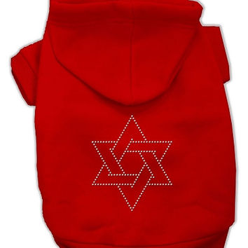 Star of David Dog Hoodie Red/XX Large