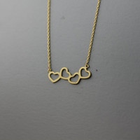 Rolling Hearts necklace -  Available color as listed ( Gold, Silver, Pink Gold )