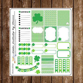 St. Patrick's Day Planner Stickers, Shamrock Planner Stickers, Erin Condren Life Planner, ECLP, Plum Paper, Inkwel