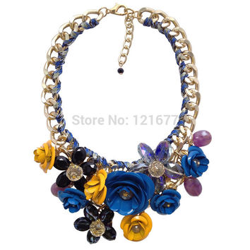 Hot Sale Brand Fashion Crystal Flower Necklaces Pendants Chunky Big Choker Necklace Vintage Collar Statement Jewelry  N0334