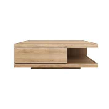 Ethnicraft Oak Flat Coffee Table - 2 Drawers