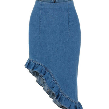 Blue Denim Asymmetric Pencil Skirt