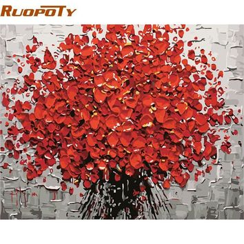 RUOPOTY Frame Red Flowers DIY Painting By Numbers Canvas Wall Art Hand Painted Oil Painting For Living Room Home Decor 40x50cm