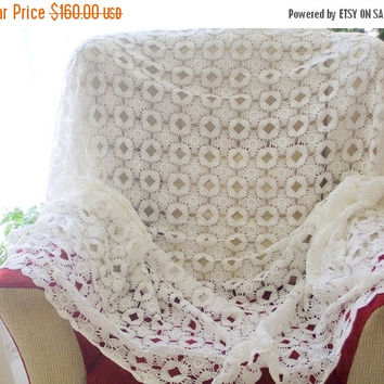 ON SALE lace tablecloth white tablecloth wedding tablecloth crochet tablecloth white lace lace table cloth shabby chic wedding lace cotton