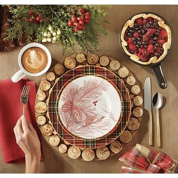 """Set of 4 large Rustic Wood Log Slices Charger Plates / Platters 14"""""""