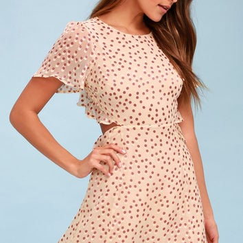 Elsie Cream Polka Dot Backless Dress