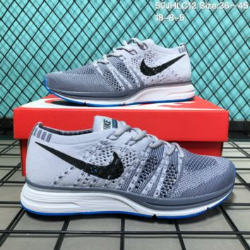 KUYOU N199 Nike Flyknitting Hollow Lightweight Breatable Running Shoes Grey