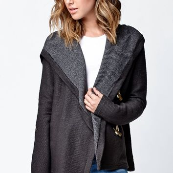 Roxy Rise Up Fleece Hooded Cardigan - Womens Hoodie - Black