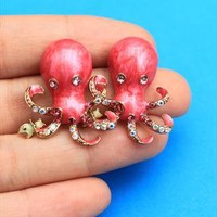 Enamel Octopus Earrings - Hot Pink Cute Retro Kitsch from loveheartsandcrosses