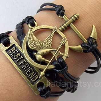 Mockingjay pin bracelet,hunger bracelet,games bracelet,best friend bracelets,anchor bracelets,couple leather bracelet,hipsters jewelry,black