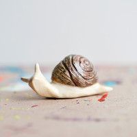 Snail Sculpture, Snail Totem Figurine, Clay Animals