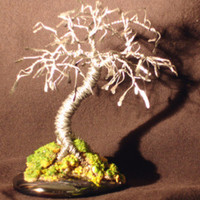 Wire Bonsai Tree Sculpture Hammered Leaves Mini Tree - 4x4x4