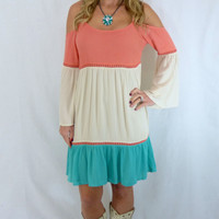 Southern Stripes Dress: Ivory