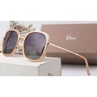 Dior Women Trending Popular Summer Sun Shades Eyeglasses Glasses Sunglasses Rose Golden+Dark Purple G-A-SDYJ