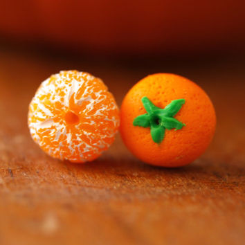 Realistic Orange Posts Earrings, Clementine, Miniature Food Jewelry, Mandarin Fruit Earrings, Kawaii Fruit, Polymer Clay, Gift For Her