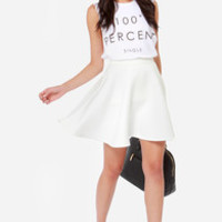 Truth or Flare White Skater Skirt