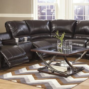 4 pc capote ii collection chocolate durablend bonded leather sectional sofa with three recliners and console