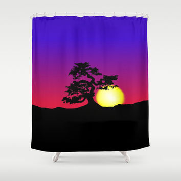 Sunset Bonsai Silhouette Shower Curtain by tjustleft | Society6
