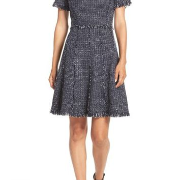 Eliza J Tweed Fit & Flare Dress (Regular & Petite) | Nordstrom