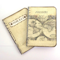 Travel Notebooks, Set of 2 Mini Travel Journals, Travel Pocketbooks, Antique World Map, Journey, Vintage Style Travel Journals