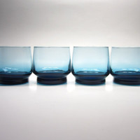 Four 1950s Dark Peacock Blue Drinking Glasses Tumblers with Medium Base - cocktails juice water - mid-modern retro mad men